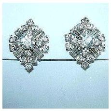 Kramer Rhinestone Clip Earrings