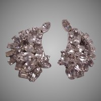 Kramer Fine Rhinestone Clip Earrings