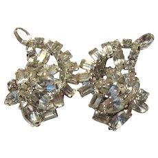 Kramer Large Rhinestone Clip Earrings