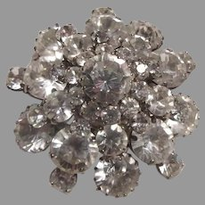 Fine Austria Large Rhinestone Brooch High Dome Pin