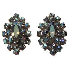 Vintage Blue Aurora Rhinestone Clip Earrings