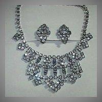 Blue Rhinestone Necklace & Earring Set