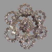 Large Ornate Rhinestone Brooch Pin