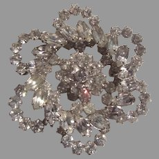 Large Ornate Rhinestone Brooch Pin