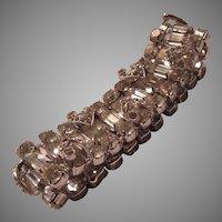 Eisenberg Wide Rhinestone Signed Bracelet Brilliant