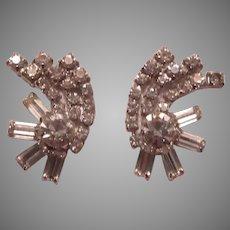 Rhinestone Curved Clip Earrings