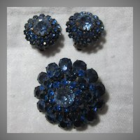Brilliant Sapphire Blue Rhinestone Austria Brooch Earring Set