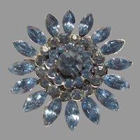 Blue Rhinestones Brooch Pin