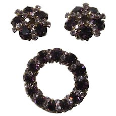 Deep Purple And Violet Stones Pin Brooch and Clip Earrings Set Demi-Parure