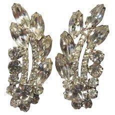 Fabulous Long Rhinestone Clip Earrings