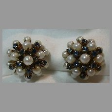 Cultured Pearl  Sapphire & Gold Earrings