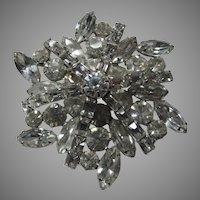 Elegant Rhinestone Brooch Pin Unusual Design