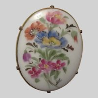 Hand Painted Flowers Porcelain Brooch Pin