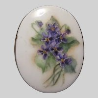 Hand Painted Violets Flowers Porcelain Brooch Pin