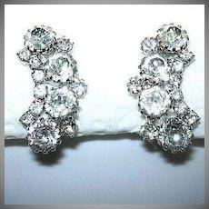Weiss Rhinestone Clip Earrings