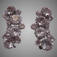 Weiss Fine Rhinestone Clip Earrings
