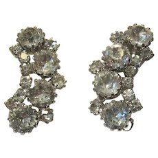 Signed Weiss Rhinestone Clip Earrings