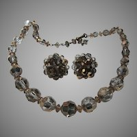 Faceted Crystal Beads Beaded Choker Necklace Clip Earrings Set