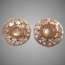 Carved Mother of Pearl Clip Earrings