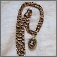 Victorian Book Chain Necklace Cameo Pendant Locket Fine Jewelry