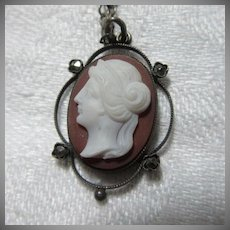 Unusual Old Cameo Pendant Necklace Fine Jewelry