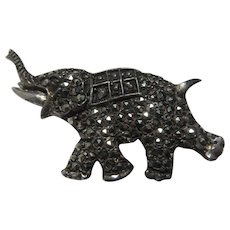 Marcasite Silver Elephant Pin