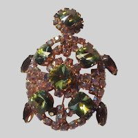 Jeweled Stones Costume Turtle Pin