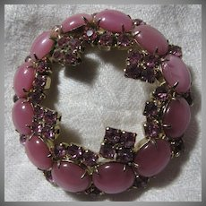 Pink Faux Moonstone & Rhinestone Circle Pin Brooch Fine Vintage Costume Jewelry