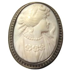 White Carved Shell Cameo Brooch Pin Sterling Silver