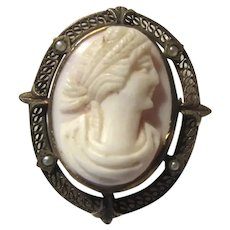 Old Cameo Brooch Pin