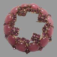Pink Rhinestone Moonstone Costume Brooch Circle Pin