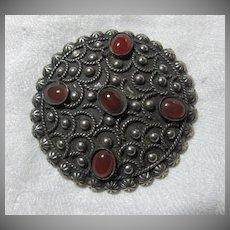 Sterling Silver Carnelian Ornate Brooch Pin Fine Costume Jewelry