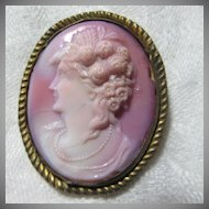 Pink Glass Cameo Brooch