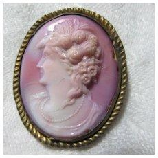 Pink Glass Cameo Brooch