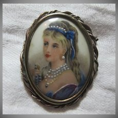 Limoges Hand Painted Lady Portrait Brooch Miniature Art