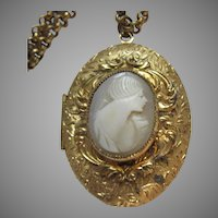 Gold Tone Metal Locket Pendant With Cameo And Chain