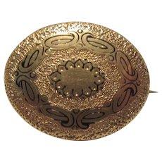 Antique Victorian Gold Filled Enamel Brooch Pin