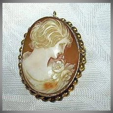 10K Gold Shell Cameo Brooch  Pendant Fine Jewelry