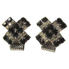 Black And Rhinestones Fine Large Cufflinks