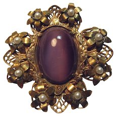 Violet Faux Pearl Gold Tone Metal Brooch Pin