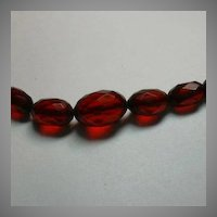 Antique Cherry Amber Faceted Beads Fine Vintage Costume Jewelry Choker Necklace