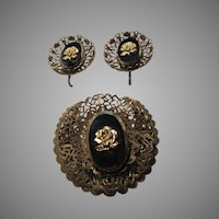 Gold Metal Black Glass Rose Brooch Pin Clip Earrings Set