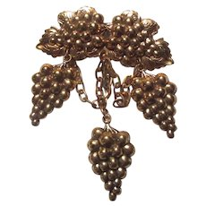 Brass Tone Metal Grapes Brooch Pin