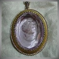 Pink Violet Glass Intaglio Cameo  Pendant Necklace