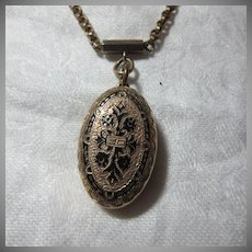 Victorian Large Locket With Enamel & Original Chain Necklace