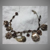 Antique Bracelet Gold Filled Victorian Charms Hearts Garnets & Fobs