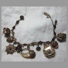 Antique Bracelet Gold Filled Victorian Charms Hearts Garnets & Fobs