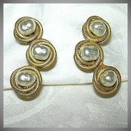 Miriam Haskell Faux Pearl Clip Earrings