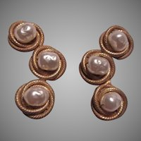 Large Miriam Haskell Faux Baroque Pearl Clip Earrings