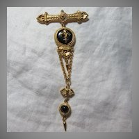 Ben-Amun Bar Pin With Fleur De Lis Pendants